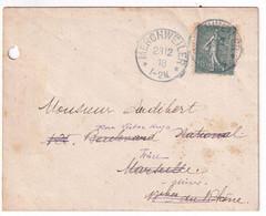 SARRE / SAAR - 1918 - CACHET ALLEMAND RARE En SARRE Sur SEMEUSE !! - ENVELOPPE De MERCHWEILER => MARSEILLE => NIORT - Guerra Del 1914-18