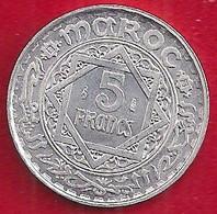 MAROC EMPIRE CHÉRIFIEN 5 FRANCS - 1370 - Morocco