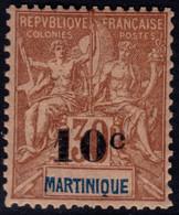 ✔️ Martinique 1904 - Mouchon Groupé Avec Surcharge  - Yv. 52 * MH - €17 - Unused Stamps