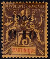 ✔️ Martinique 1904 - Mouchon Groupé Avec Surcharge - Yv. 57 * MH - €21 - Unused Stamps