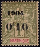 ✔️ Martinique 1904 - Mouchon Groupé Avec Surcharge - 0 Déformé - Yv. 58 * MH - €21 - Unused Stamps