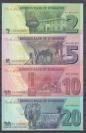 ZIMBABWE 2 5 10 20 DOLLARS 2019 2020 P-NEW UNC SET - Zimbabwe