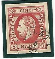 1872.- RUMANIA. 5b ROJO. YV Nº26 - 1858-1880 Moldavia & Principado