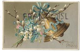 Bouquet De Myosotis Et Muguets. Cloche Décorée De Fleurettes. Relief. - Ostern