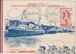 France Carte Et Cachet Tour De France 1953 Dieppe - Commemorative Postmarks
