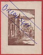 Menu Hotel Moderne.  Epinal ( Vosges ) Gravure D'après  P. VALDENAIRE  Vue De L'église St Maurice. - Menus
