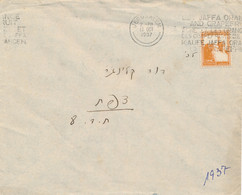 Palestine - 1937 - 5 M On Cover From Jerusalem To Safad - Canceltext In English, Francais And Deutsch - Palästina