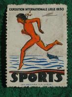 Vignet(te). Exposition Liège 1930. Sports. - Commemorative Labels
