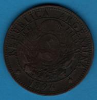 ARGENTINA 2 CENTAVOS 1894 KM# 33 - Argentina