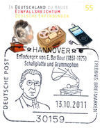 German Inventions - Germany 2011 Michel # 2892 - FDC - Special Mark Hannover - Gramophone -  Tape Recorder - MP3 Player - Sonstige