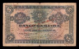Mozambique Beira 5 Libras Esterlinas 1919 Pick R21 BC F - Mozambique