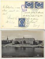 Sweden 1949 Postcard Royal Palace From Stockholm To Rio De Janeiro Brazil Postmark Postage Due - Cartas