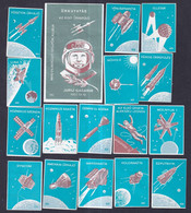 Hungary Poster Stamps Vignette Labels 1961 RUSSIA SPACE MOON SATELLITE ROCKET TELSTAR SPUTNIK GAGARIN - Autres