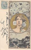 Illustrateur: Kirchner     Art Nouveau. Femme Blonde De Face Dans Un Médaillon    (voir Scan) - Kirchner, Raphael
