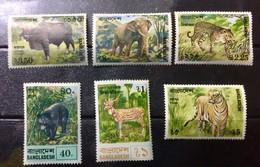 BANGLADESH 1977 MNH STAMP ON WILD ANIMALS GOYAL, ELEPHANT, LEOPARD,BEAR,DEER &TIGER 6 DIFFERENT ANIMALS - Bangladesh