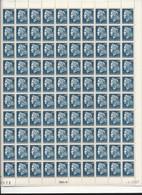 Feuille Complète De  100 Timbres Du  N° 1535 Marianne De Cheffer 25c Bleu . - Hojas Completas
