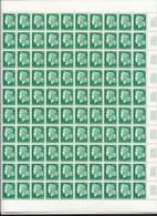 Feuille Complète De  100 Timbres Du  N° 1536A Marianne De Cheffer 30c Vert . - Hojas Completas