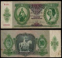 HUNGARY BANKNOTE - 10 PENGO 1936 P#100 F/VF (NT#05) - Hungary