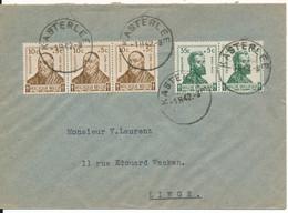 Nr 593+594 Op  Gelopen Brief, Gestempeld Kasterlee - Briefe U. Dokumente