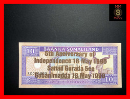 SOMALILAND 10 Shilin 18.5.1996  P. 9   *COMMEMORATIVE*  Bronze Overprint   RARE  UNC - Other - Africa