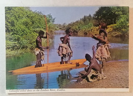 Old Postcard Colourful Tribal Dress On The Zambesi River Zambia 1960's - Zambia