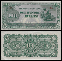 BURMA - WWII JAPANESE GOVERNMENT BANKNOTE - 100 RUPEES (1944) P#17b XF/AU (NT#05) - Other