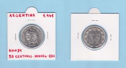 ARGENTINA  50  CENTAVOS  1.941  NIQUEL  KM# 39  XF / EBC    DL-12.738 - Argentina