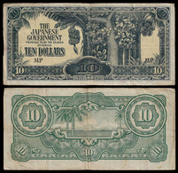 MALAYA - WWII JAPANESE GOVERNMENT BANKNOTE - 10 DOLLARS (1944) P#M7b F/VF (NT#05) - Other