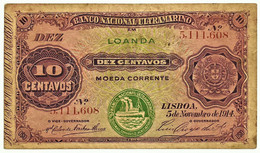 Angola - 10 Centavos - 5.11.1914 - Pick 40 - Green Overprint LOANDA - Steamship Seal Type III - Angola