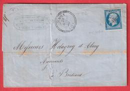 N°14 PC 4107 YCHOUX LANDES CAD TYPE 22 POUR BORDEAUX - 1849-1876: Periodo Classico