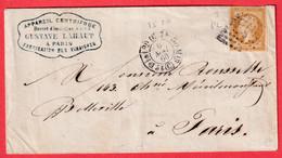 N°13 BISTRE BRUN PARIS POTHION 1520 BUREAU C POUR BELLEVILLE LES PARIS RECETTES REUNIES - 1849-1876: Klassik
