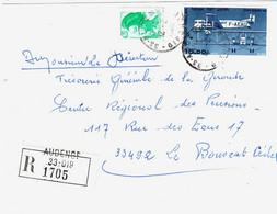 AUDENGE 33 Gironde Lettre Recommandée 15 F Farman Poste Aérienne 20 C Liberté Yv 2181 PA 59 Ob 1986 - Briefe U. Dokumente
