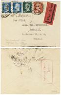FRANCE - 1923 (30 Août)10c, 30c & 2x50c PASTEUR Sur LSC AVION De PARIS à VARSOVIE Via BUDAPEST - 1922-26 Pasteur