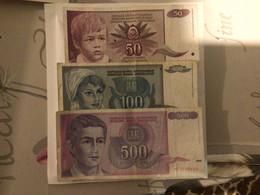 Lot Yougoslavie  Oblitéré 50/100/500 Dinara Réf A253 - Yugoslavia