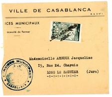 JURA ENV COUPEE A GAUCHE SD GRIFFE LINEAIRE LONS LE SAUNIER / JURA SUR TIMBRE MAROC NON OBLITERE AU DEPART - 1921-1960: Periodo Moderno