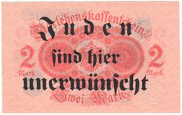"Rare WW2 Germany Nazi ""Unwanted"" Propaganda FORGERY Overprint On Genuine 2 Mark 1923 Banknote EF+ - Other"