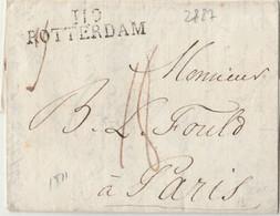 DEPARTEMENT CONQUIS - Marque 119 ROTTERDAM Sur Lettre De 1811 Pour PARIS - 1792-1815: Conquered Departments