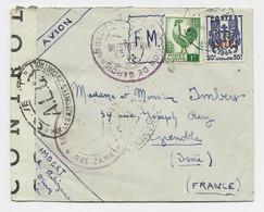COQ 1FR ALGERIE +50C CHAINE LETTRE FM AVION RELIZANZ 1945 POUR GRENOBLE + CENSURE A.L.C + OUVERT - 1944 Coq Et Marianne D'Alger