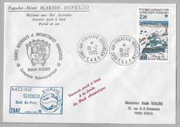 CN2 - TAAF- PO112 Du 10.2.1985 KERGUELEN - Pli Du Marion Dufresne Et MD42 SIBEX Baie De PRITZ. - Cartas