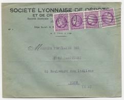 MAZELIN 1FR50 PERFORE SL X4 LETTRE LYON 8.IX.1947 AU TARIF AFFRANCHISSEMENT PEU COMMUN - 1945-47 Ceres De Mazelin