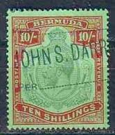 BERMUDA 1910 #53 USED 10 SHILLING GEORGE V RARE CLASSIC 6906RD-D - Bermuda