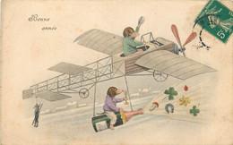 CARTE BONNE ANNEE THEME AVIATION FANTAISIE CHIENS HUMANISES H.H.I.W N°699 - New Year