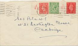 GB 1942 George V 1/2d + George VI 1d Red And Matt Red Mixed Franking Two CONTROLS - Abarten & Kuriositäten
