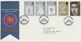 GB 1969 Investiture Of The Prince Of Wales FDC MAJOR VARIETIES 5 D Strip NO PHOS - Abarten & Kuriositäten