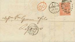 GB 1869 QV 4d Vermilion Pl.10 With Wing Margin (RG) On Cover To LYON VARIETY - Abarten & Kuriositäten