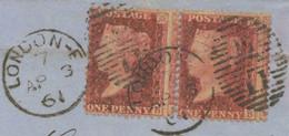 GB HEAVY MISPERFORATED 1861 QV 1 D Rose-red Perf. 14 Pair, Rare VARIETIES - Abarten & Kuriositäten