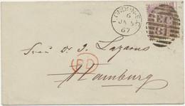 GB 1867 QV 6d Lilac Pl.5 (SF), Variety: Misperforated On VF Cover To HAMBURG - Abarten & Kuriositäten