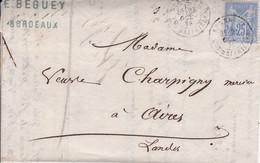Yver 72 Type II Seul Sur Lettre Bordeaux Pour Aire/Adour Oct 1876 - 1877-1920: Semi Modern Period