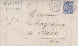 Yver 72 Type II Seul Sur Lettre Bordeaux Pour Aire/Adour Juillet  1877 - 1877-1920: Semi Modern Period