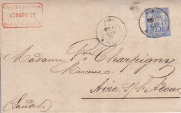 Yver 72 Type II Seul Sur Lettre Paris Pour Aire/Adour Sept  1877 - 1877-1920: Semi Modern Period